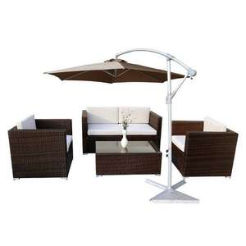 Salon de jardin résine tressée marron + Parasol déporté 300cm Taupe (99€ de port)