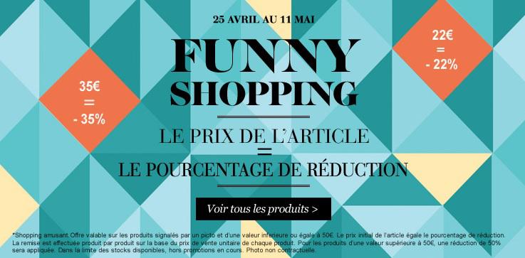 Funny shopping: Pourcentage de réduction = Prix de l'article