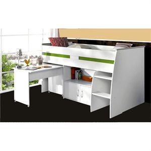 Lit Zola combiné 90x200cm + bureau + rangements Blanc