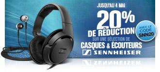 -20% sur une sélection de casques & écouteurs Sennheiser et sur une sélection de CPL Netgear