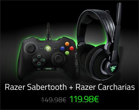 Pack manette de jeu Razer Sabertooth + Casque micro Razer Carcharias