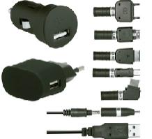 Pack de 2 chargeurs USB (secteur + allume cigare) avec 6 adaptateurs