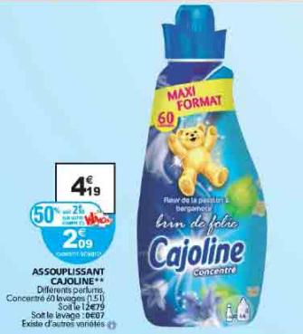 Adoucissant Cajoline concentré 1.5L   (50% sur carte fidélité + BDR)