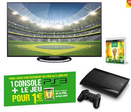 TV LED 3D Sony KDL42W805 + Console PS3 + Jeu Fifa 2014