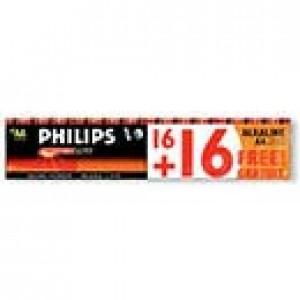 Pack de 32 piles AA Alcaline Philips  PowerLife LR6PS32C