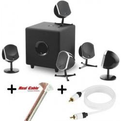 Pack enceintes 5.1 Focal Little Bird Noir + Câble subwoofer Real Cable SUB-1 (5m)  + Câble haut parleur Real Cable CAT150020 (30m)