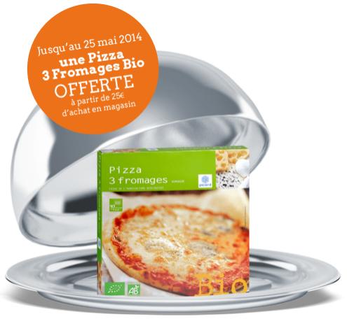 Une pizza 3 fromages bio offerte dès 25€ d'achat