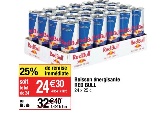 Boisson énergisante Red Bull 24 x 25cl