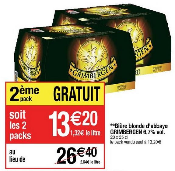 Lot de 2 packs de 20 bières Grimbergen (25cl) (avec 2 bons de réduction)