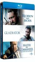 Coffret 3 Blu-ray Steelbook Russell Crowe : Robin des Bois + Gladiator + Master and Commander
