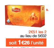 2 paquets de 20 sachets mousselines Thé Lipton