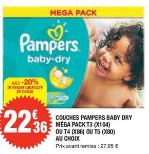 2 Mega Packs de couches Pampers Baby-Dry (Tailles 3, 4, et 5)