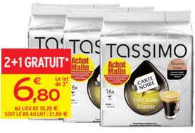 3 paquets de T-Discs de café long classic Carte Noire Tassimo