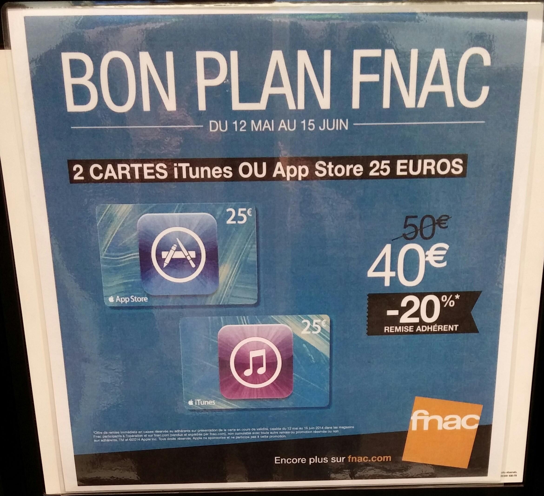 20% sur les cartes iTunes ou AppStore - 2 cartes de 25€ de crédit