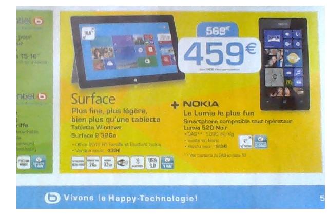 Tablette Surface 2 (32Go) + Smartphone Nokia Lumia 520