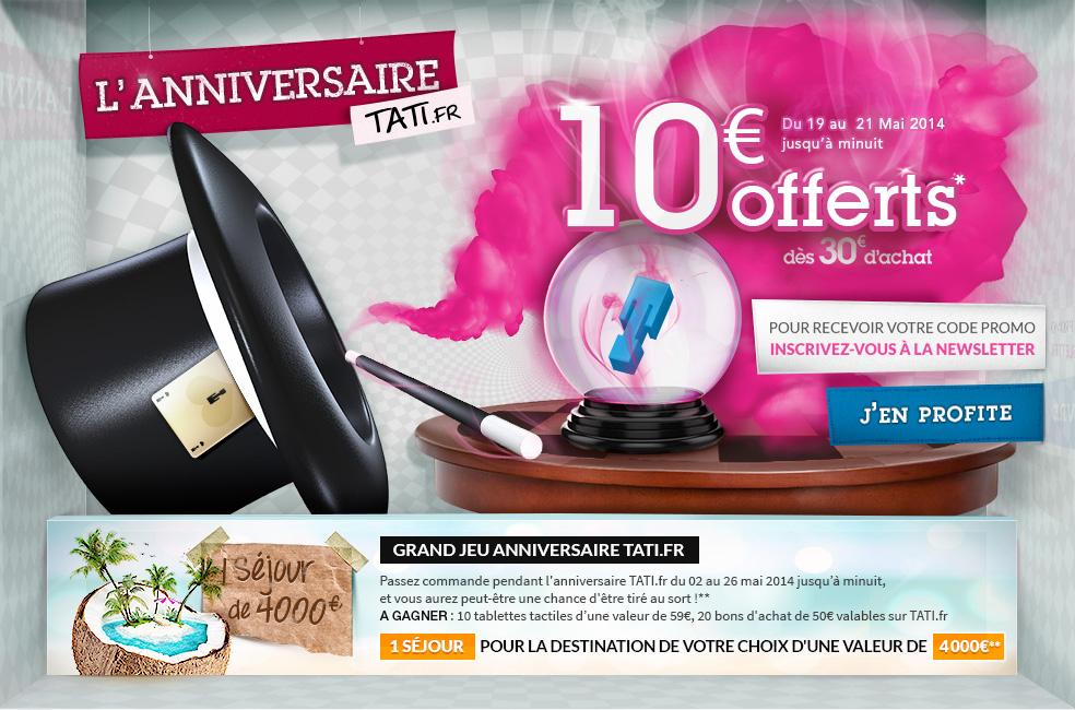 10€ offerts dès 30€ d'achat