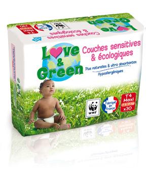 20 % de remise sur les couches et les lingettes Love and Green