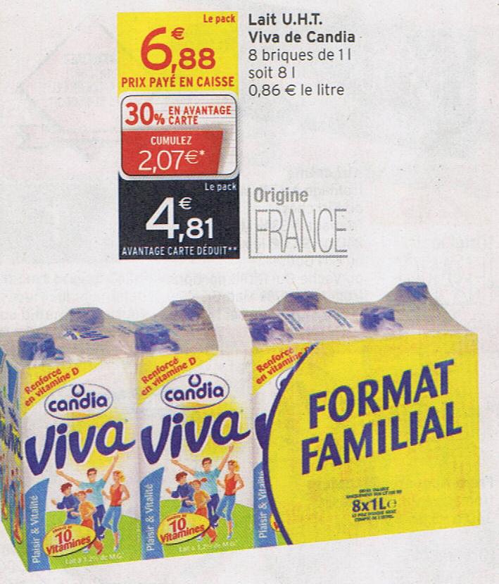 Pack de Lait Viva 8x 1L
