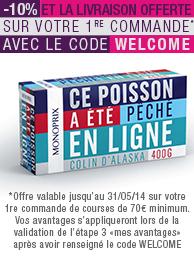 -10% + livraison gratuite pour vos courses (première commande) à partir de 70€ d'achat