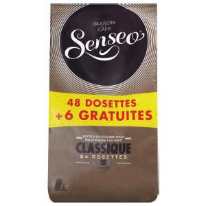 48 dosettes + 6 gratuites de café Senseo: classique, corsé, décaféiné ou doux (50% sur carte)
