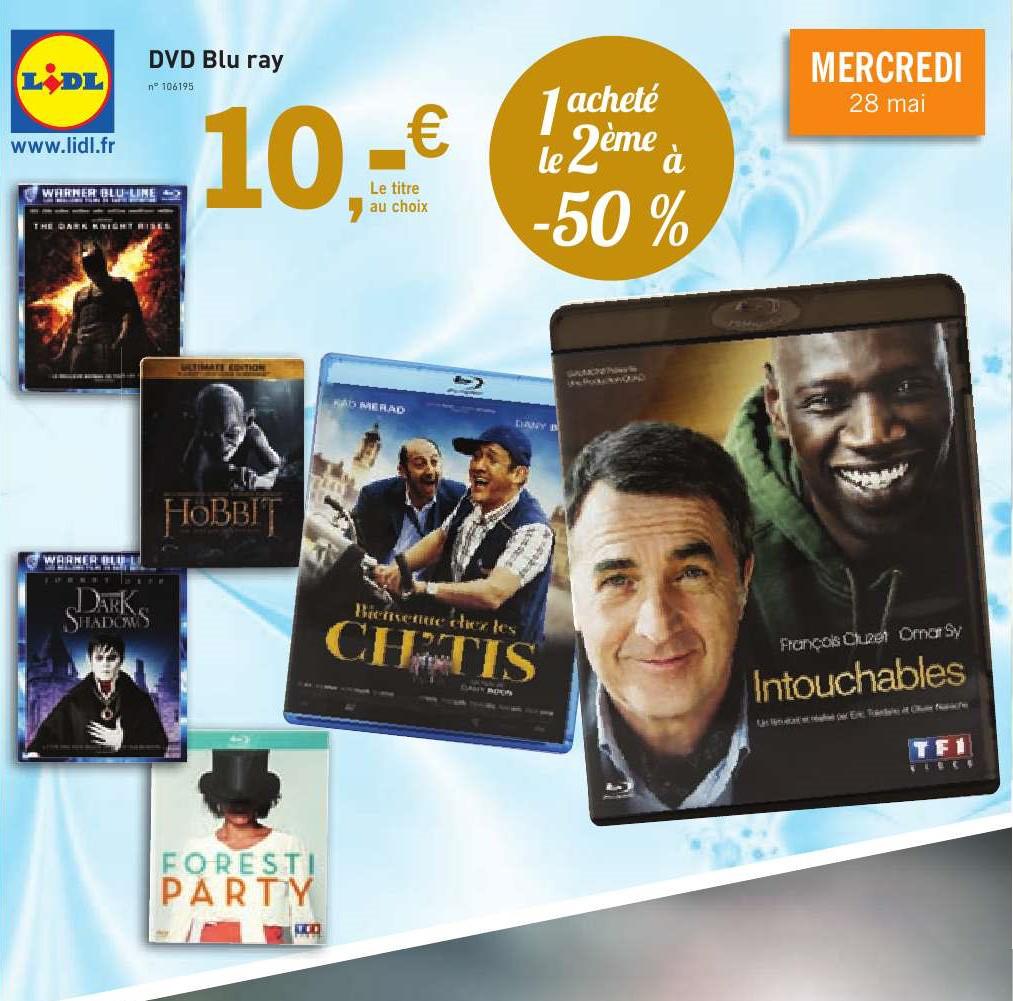 Un Blu-ray acheté à 10€ = le deuxiéme à -50% soit 5€ (Le Hobbit, Dark Shadows, Batman The Dark Knight Rises...)