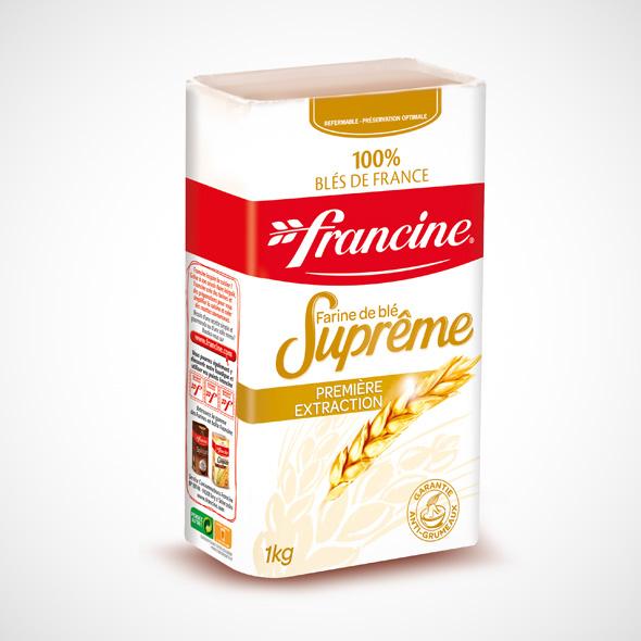 2 boites de farine Francine suprême ou complète