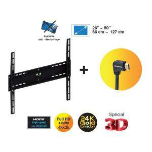 "Support TV mural Meliconi 26"" à 50"" + câble HDMI"