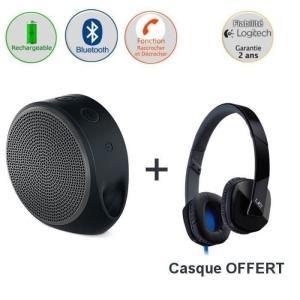 Enceinte Bluetooth Logitech X100 Grise + Casque Logitech UE 4000 Noir, Blanc ou Violet