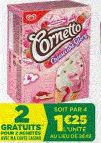 4 boîtes de 4 Cornetto (soit 0.92€ la boîte)