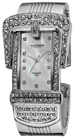 Montre Quartz Akribos en Métal et Diamants