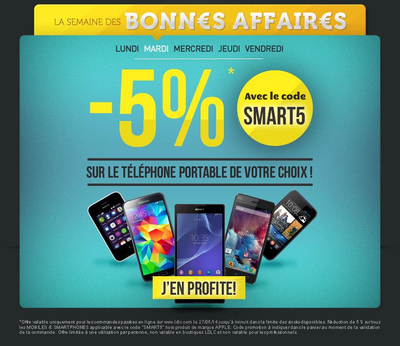 5% de remise immédiate sur le téléphone de votre choix (hors Apple)