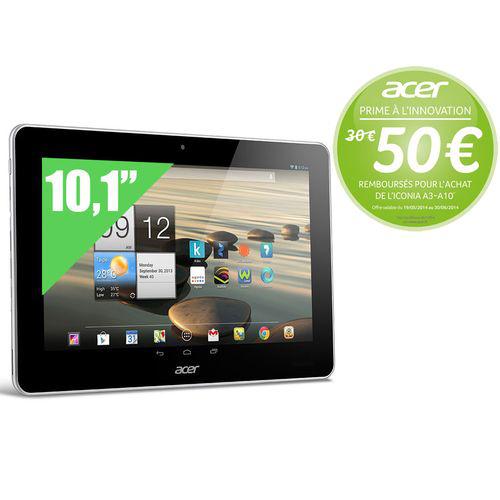"Tablette 10.1"" IPS Acer Iconia A3-A10 - Mediatek 8125 1,2 GHz, 16 Go, Blanc (Avec ODR de 50€)"