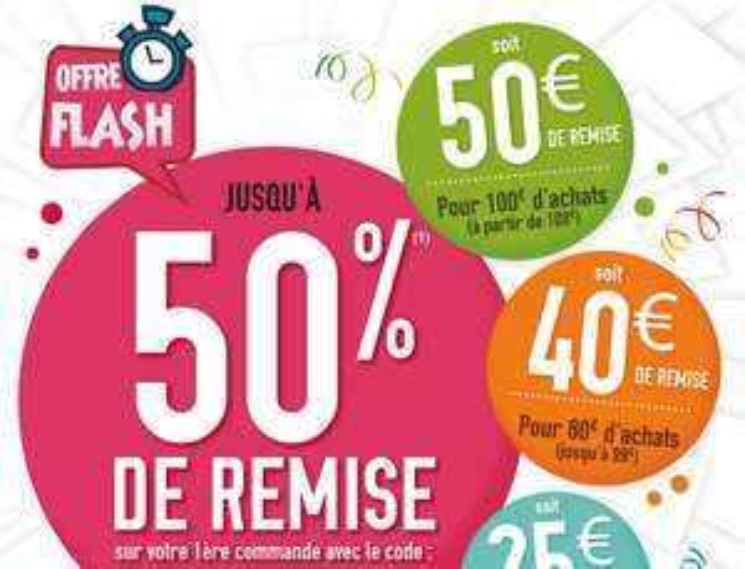 -50% sur votre première commande dès 50€ d'achats