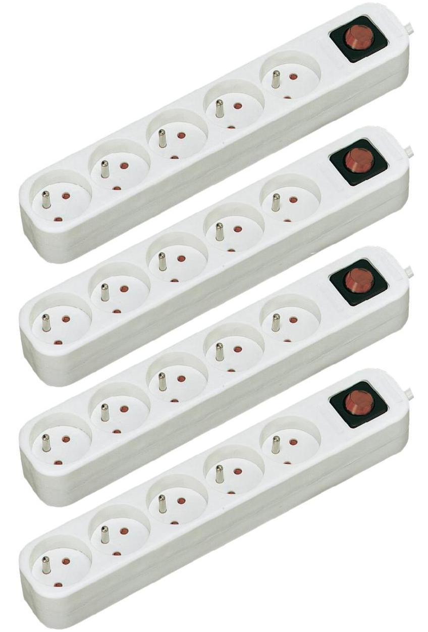 4 blocs de 5 prises avec interrupteur