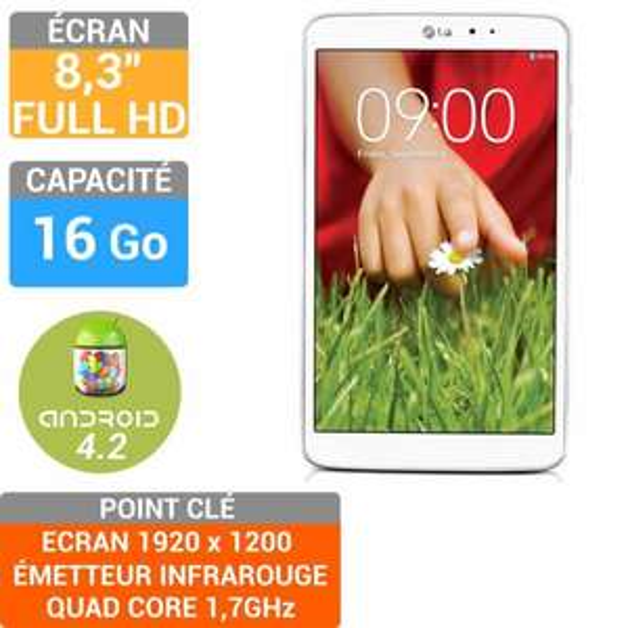 Tablette LG Gpad 8.3 - 16Go - Blanc (avec ODR 70€)