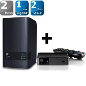 Serveur NAS Western digital My Cloud EX2 - 2 baies + Lecteur vidéo WD TV Live