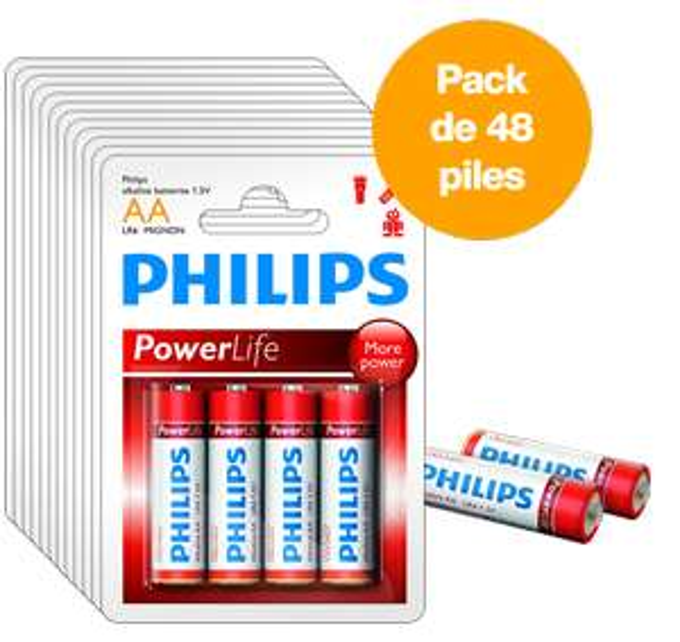 Lot de 48 Piles Philips LR6 AA 1,5V (5.99€ de port)