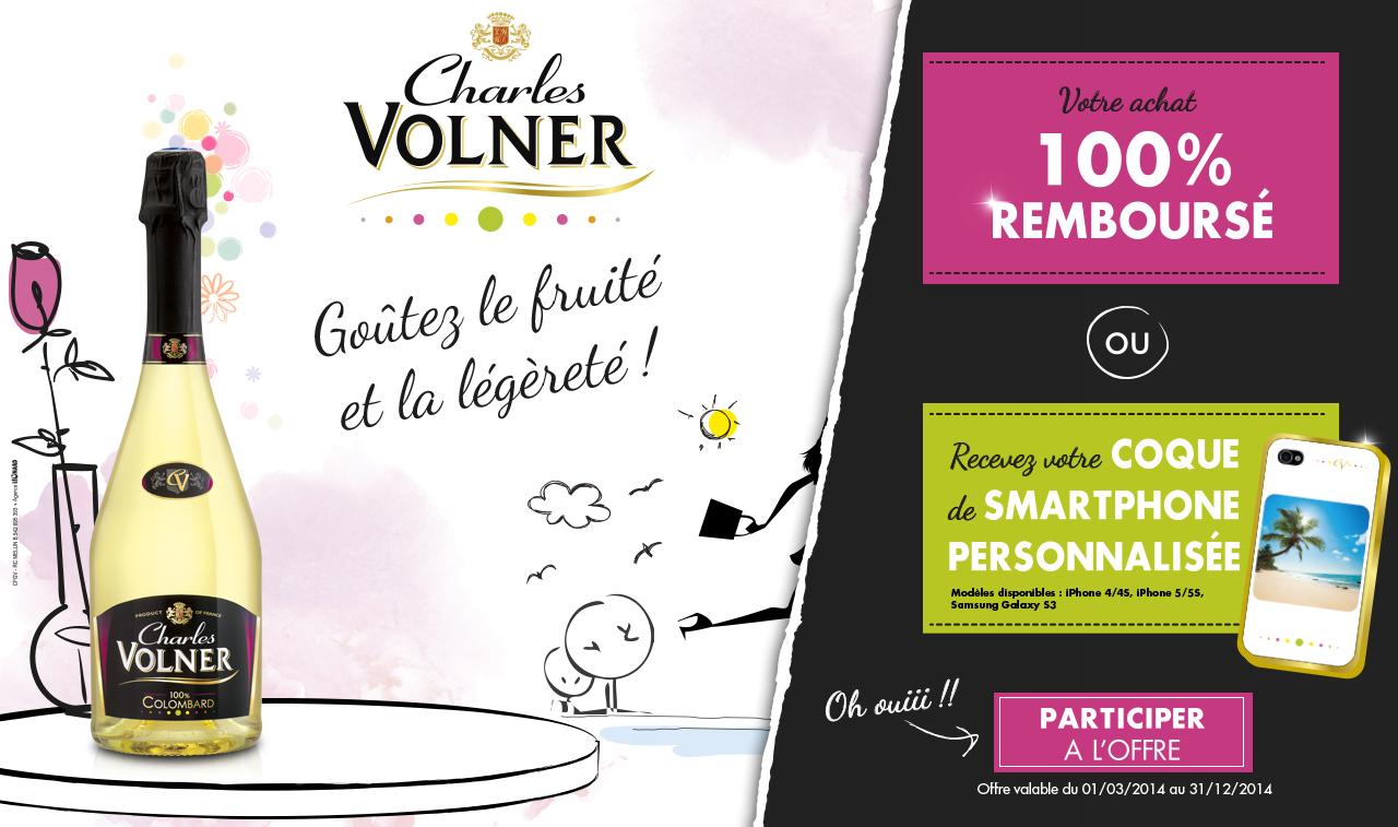 Vins 100% remboursés. Ex: Bouteille de Charles Volner 100% Colombard - 100% remboursée via internet (au lieu de 6.50€ environ)