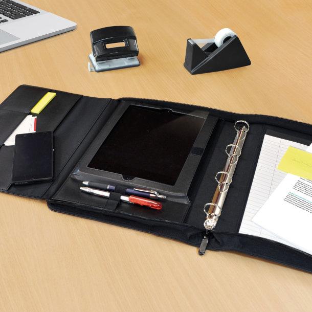 Pochette business format A4 avec plusieurs rangements, calculatrice et bloc de papier intégrés
