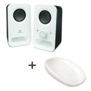 Pack Logitech : Enceintes Z150 Blanc + Souris Tactile T620