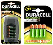 Pack de 4 Piles Rechargeables Duracell + Chargeur Duracell (Avec ODR de 12.9€)