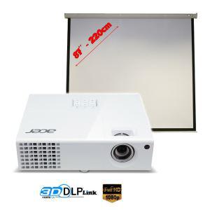 "Vidéoprojecteur Full HD 3D Acer H6510BD + Ecran de projection 87"""