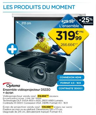 Videoprojecteur Optoma DS330 + écran projection DS3084PWC 170 x 127 cm