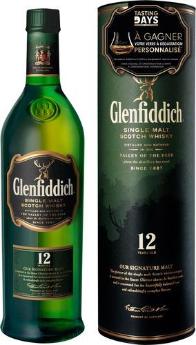 Bouteille de Scotch Whisky Glenfiddich 12 ans 40° (autres optimisations voir description)