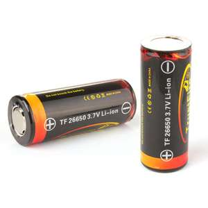2 accus rechargeables Li-ion Trustfire 26650 3.7V 5000mAh