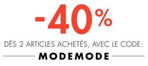 -40% dès 2 articles achetés parmi une sélection mode