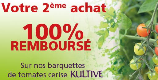 Une barquette de tomates cerise Kultive achetée = La 2ème 100% Remboursée