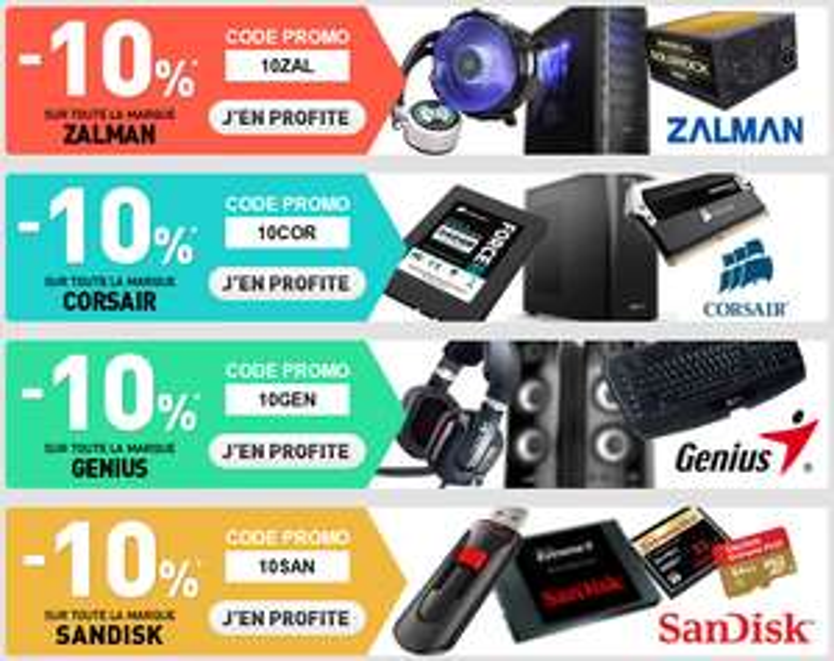4 marques à -10% (Zalman, Corsair, Genius, Sandisk)