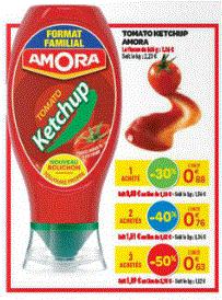 3 flacons de Ketchup Amora de 545gr chacun