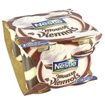 4 mousses Le viennois de Nestlé (chocolat ou café)